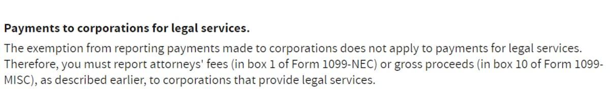1099 NEC Attorney Corporations