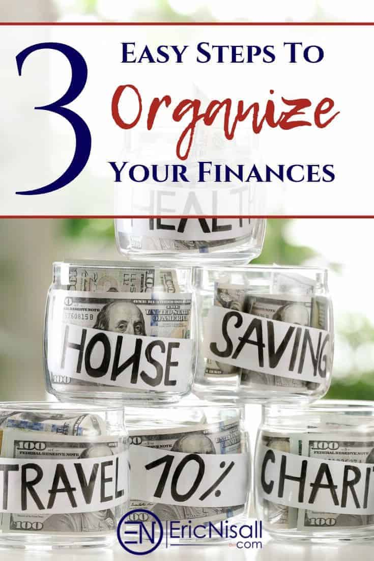 Figuring out how to start taking charge of your finances can be completely overwhelming. It doesn't have to be! Here are the three easy steps that you need to take in order to organize your finances. When you don't know where to start in order to create a budget and sort everything out, start here! Follow these three steps and you will get your finances organized and under control. You can even get the whole family involved. Read it now!  #organizing #finances #money #bankaccounts #smallbusiness #household #finances via @ericnisall