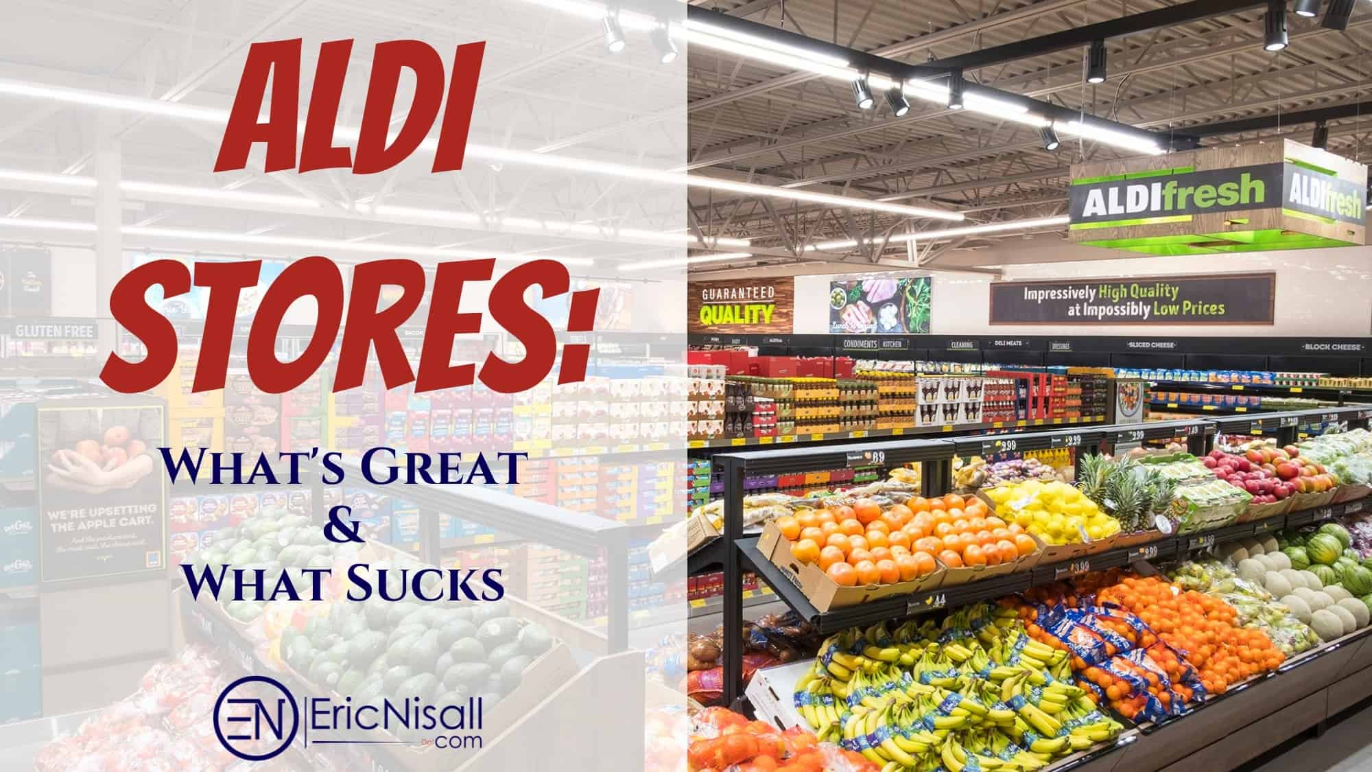 The fresh produce section of Aldi stores showcasing tomatoes, avocados, and oranges