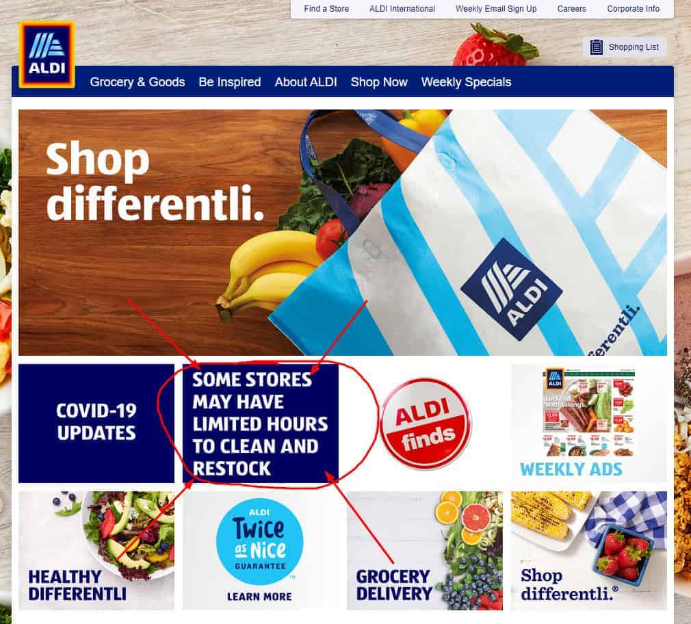 Front page of Aldi website