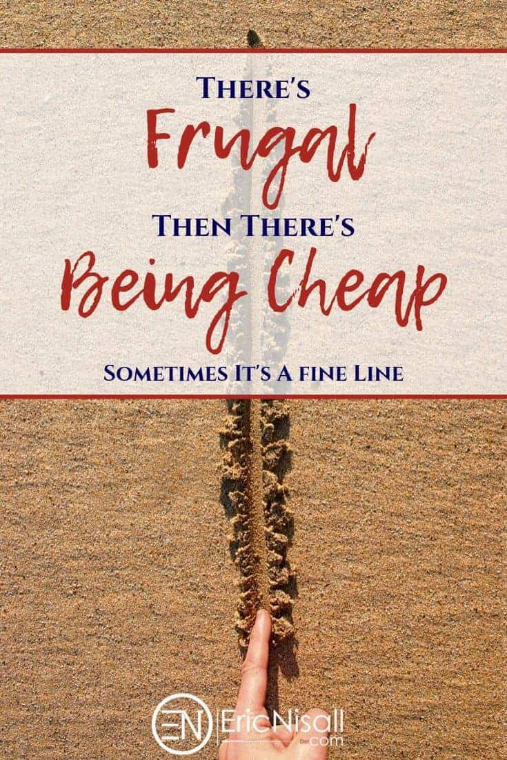 Person drawing a line in the sand to show the distinction between being frugal and bring cheap