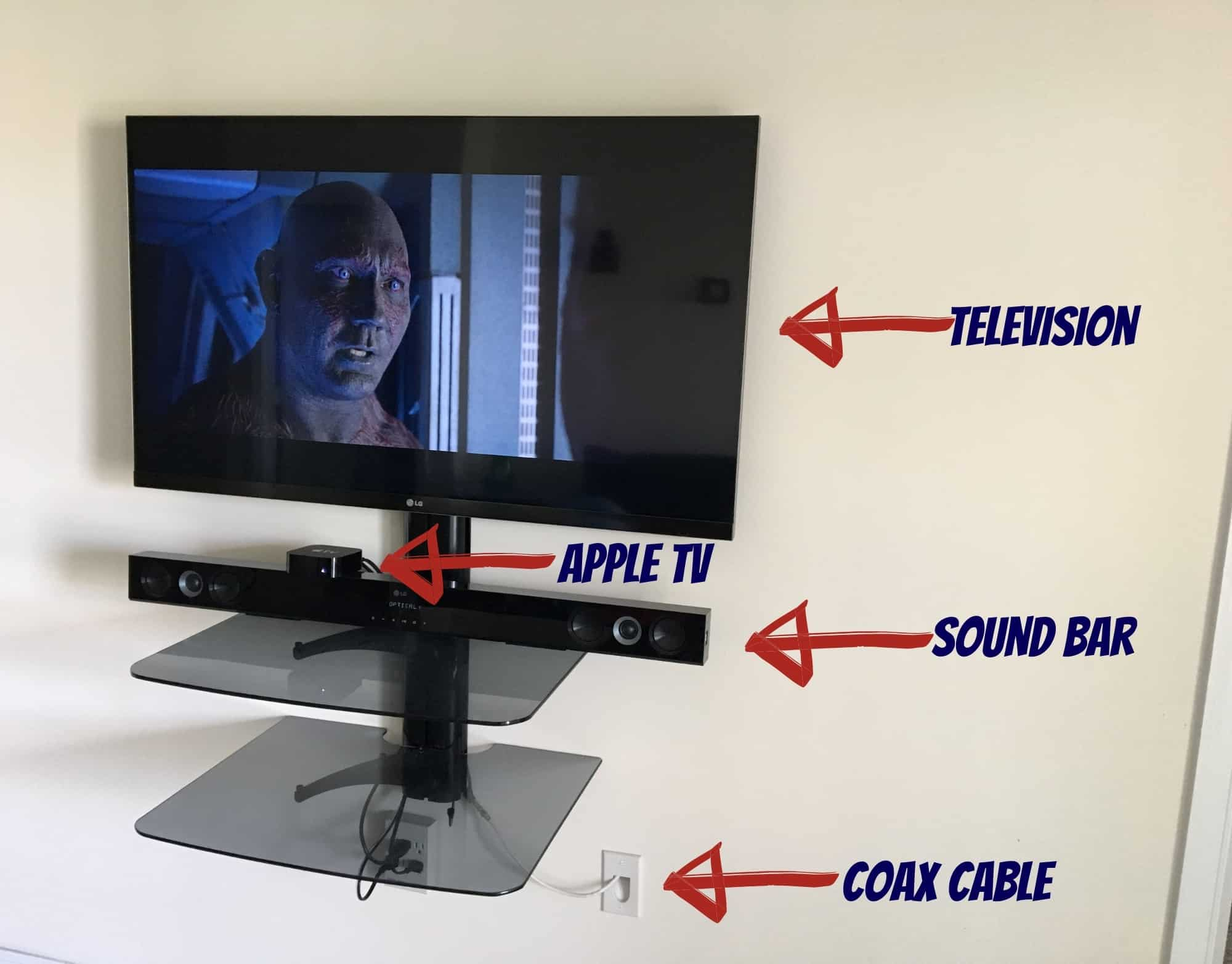 Free cable television setup: smart television, Apple TV 4k, and sound bar.