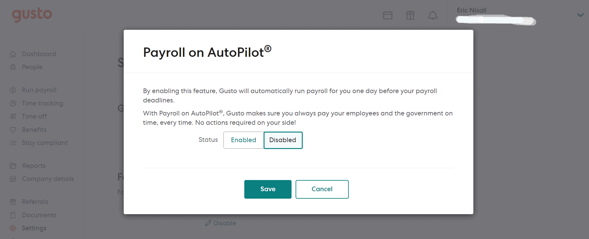 Automated Payroll feature of Gusto screenchot