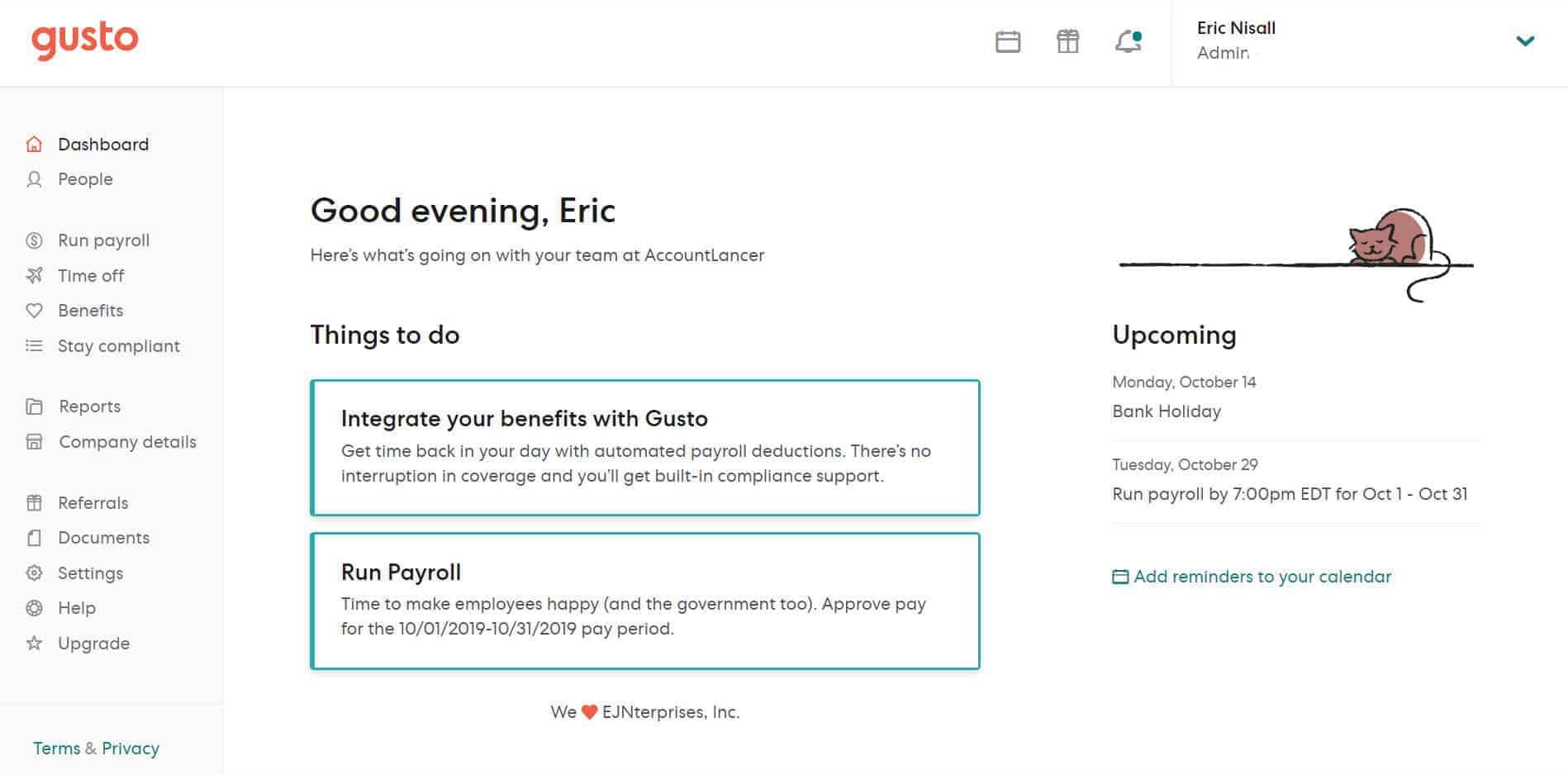 Gusto payroll dashboard screenshot
