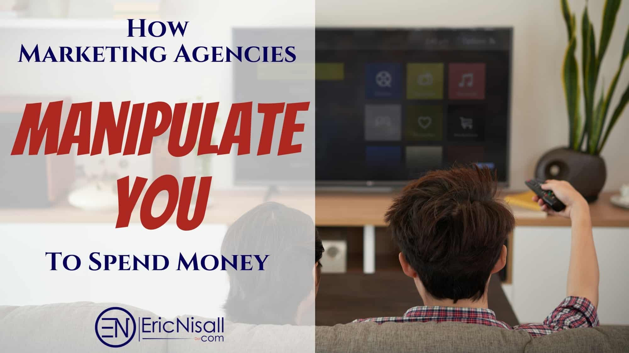 Couple on brown cloth couch skipping over ads by marketing agencies smart flat screen tv