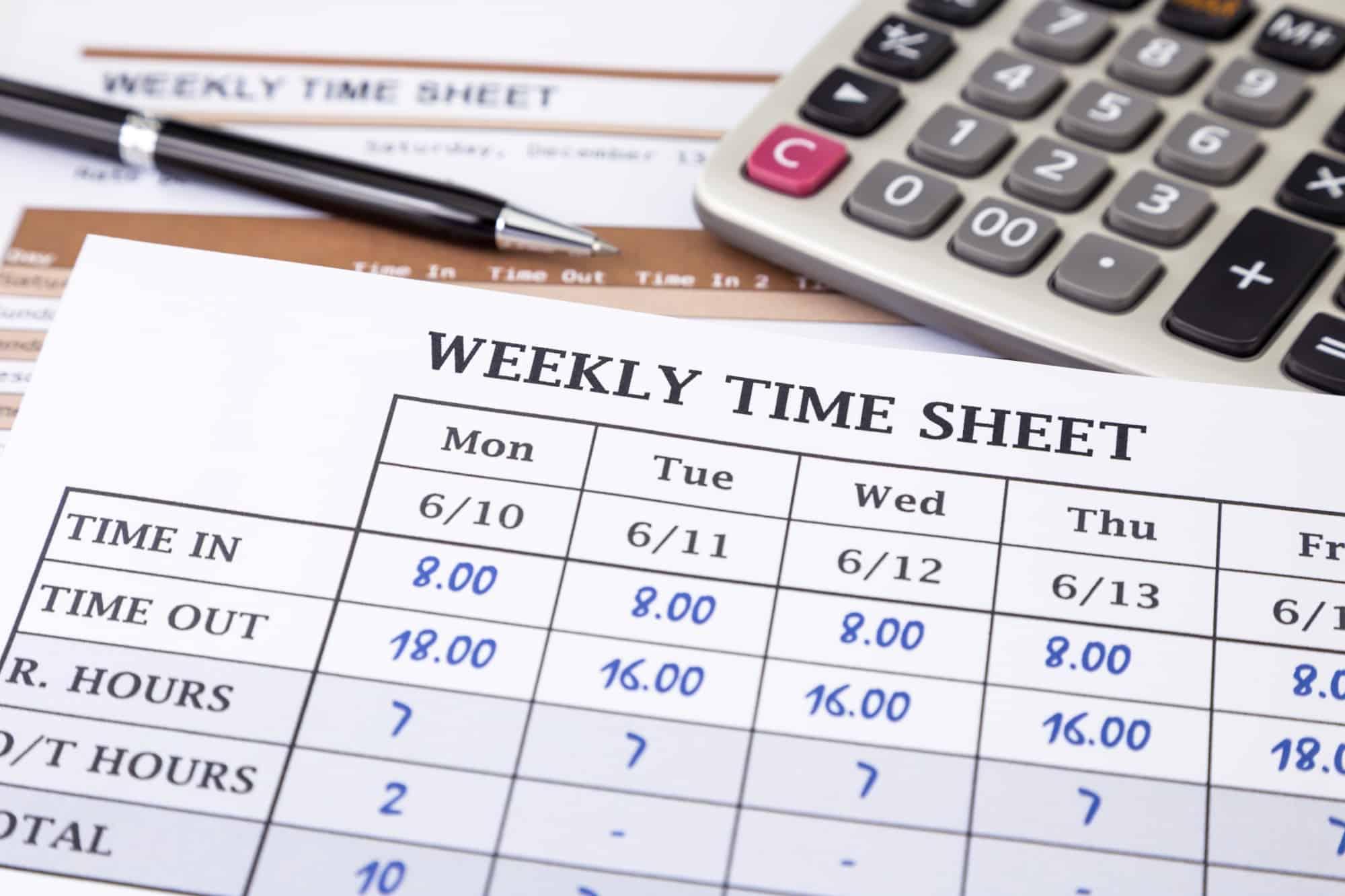 Weekly timesheet used to run payroll.