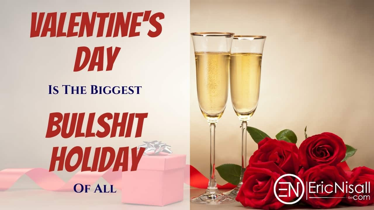Two glasses of champagne, five red roses and a red box with a silver ribbon as Valentine's Day gifts