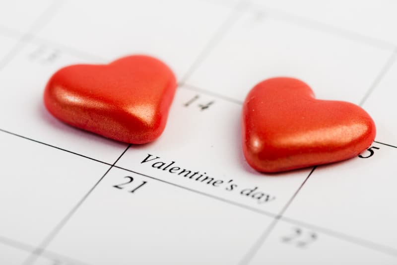 Calendar focused on February 14 marked Valentine's Day with chocolate hearts